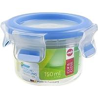 Emsa 508550 Boîte alimentaire ronde avec couvercle, 0.15 Litre, Transparent/bleu, Clip & Close