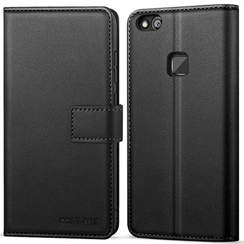 """COMMYEE Cover Huawei P10 Lite, Premium Caso in PU Pelle Portafoglio Buona Fattura TPU Silicone Slim Flip Case Custodia per Huawei P10 Lite 5.2"""" (Nero)"""