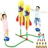 Rakete Spielzeug Duell, Druckluftrakete, Raketeentwerfer Kinder Outdoor Spiele mit 4 Normal + 2 Leuchtende Schaumstoff Ersatz