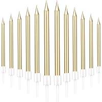 LYTIVAGEN 48 Pcs Bougie Gateau Anniversaire avec Support Métallique Bougie Longue Bougies d'Anniversaire Or-une Bougies…
