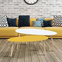 IDMarket - lot de 2 tables basses gigognes laquées jaune blanc scandinave
