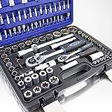 108 Teiliges Werkzeugkoffer Knarrenkasten Werkzeugset Werkzeugkasten Ratschenkasten Steckschlüssel Bit Imbus Werkzeug Set -