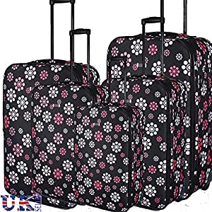 "Eagle Black Lightweight 18"" 21"" 26"" 29"" 32"" & Carry On Cabin TRAVEL Hand Luggage Suitcase 2 Wheeled TROLLEY CART CARRY BAG PULL BAGS Approved for Ryanair Easyjet"