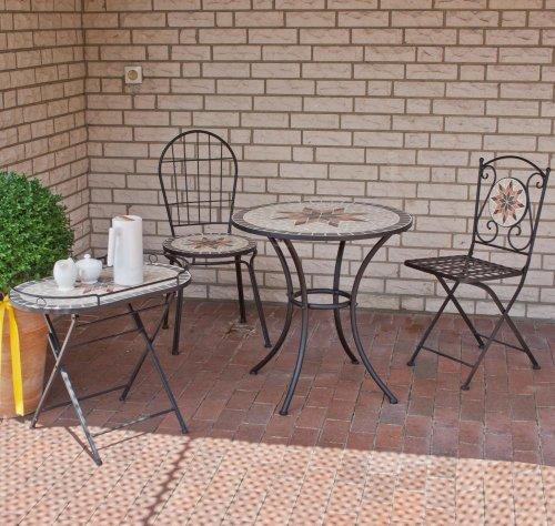 """SIENA GARDEN Dekorationsmöbel-Set """"Stella"""", 2 Stühle mit runden Tisch in Mosaik-Optik und Serviertisch"""