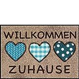 Salonloewe Fußmatte waschbar Welcome Home 3 Herzen Zuhause 50x75 cm SLD1256-050x075