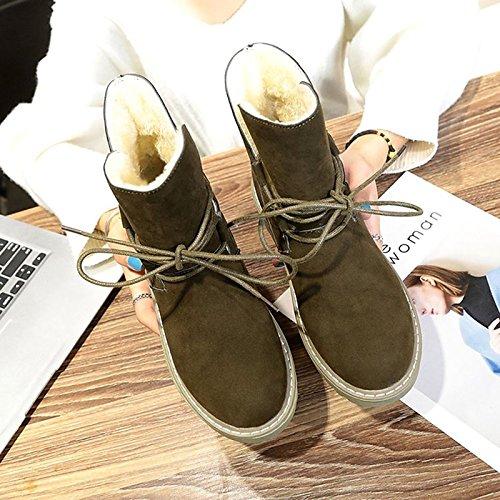 HSXZ Scarpe donna pu Autunno Inverno Comfort stivali tacco piatto rotondo Mid-Calf Toe stivali per Nero Casual verde militare Black