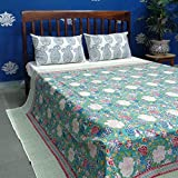 ANOKHI Double Size Floral Canvas Blue Jade 6821 Cotton Bedspread, Indian Hand Block Style | Queen Bedsheet 100% Soft Cotton