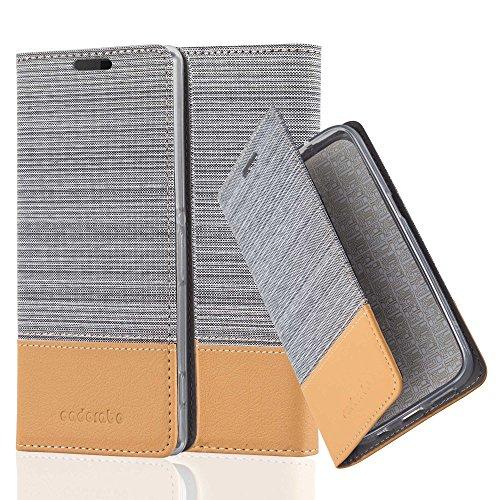 Cadorabo Hülle für Sony Xperia Z2 - Hülle in HELL GRAU BRAUN – Handyhülle mit Standfunktion und Kartenfach im Stoff Design - Case Cover Schutzhülle Etui Tasche Book