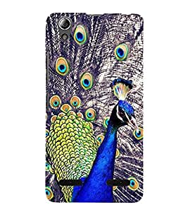 Fiobs Designer Back Case Cover for Lenovo A6000 Plus :: Lenovo A6000+ :: Lenovo A6000 (Peacock Of Feathers Mor Bird Beautiful Krishna Mobile Cover)
