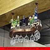 GLJ Bar Tisch Weinregal Weinregal Weinregal hängende Ornamente Massivholz Becherhalter Weinregale (größe : 60 * 23cm)