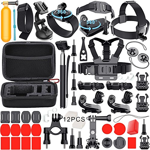 Galleria fotografica Leknes 54 in 1 Accessori Kit per GoPro Hero 5 4 3+ 3 2 1 Black Silver and SJCAM SJ4000 SJ5000 SJ6000 Action Camera Accessories per Lightdow/Xiaomi Yi/WiMiUS/DBPOWER