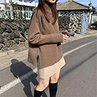IJL T-Shirt otoño e Invierno Cuello mandarín Femenino sección Corta Suelta Forro de Punto Grueso Color castaño 2XL