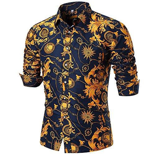 Camicetta superiore delle stampata a maniche lunghe con maniche lunghe casual da uomo,yanhoo magliette uomo divertenti,camicia uomo eleganti slim fit, uomo manica lunga,manica lunga t-shirt