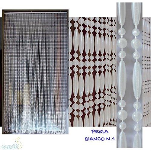 dell Perla - Eichmaß 100X220 / 120X230 / 130X240 / 150X250 - Fliegenvorhang - Kunststoff-Vorhänge (120X230, Matt weiß) ()