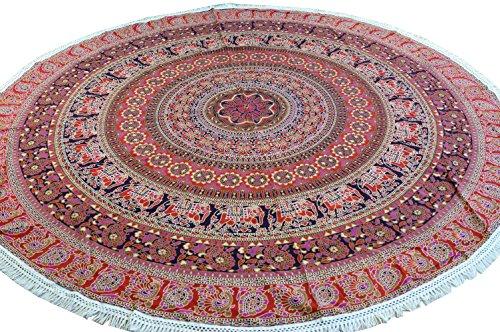 Guru-Shop Rundes Indisches Mandala Tuch, Tagesdecke, Picknickdecke, Stranddecke, Tischdecke - Rot, Baumwolle, Bettüberwurf, Sofa Überwurf