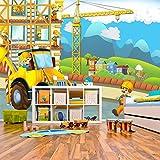 azutura Gelber Bagger Wandbild Bau Foto-Tapete Boys Room Nursery Dekor Erhältlich in 8 Größen Riesig Digital