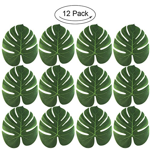 (HuntGold Künstliche Palm Blätter Faux tropischen Palm Baum Blätter Tisch Tisch-Sets Weihnachten Beach Jungle Hawaii Party Dekoration)