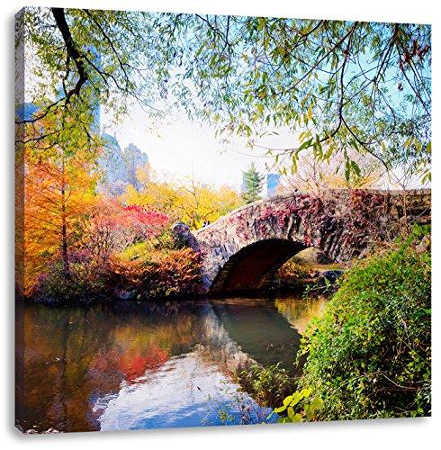 Brücke im Central Park, Format: 70x70 auf Leinwand, XXL riesige Bilder fertig gerahmt mit Keilrahmen, Kunstdruck auf Wandbild mit Rahmen, günstiger als Gemälde oder Ölbild, kein Poster oder Plakat - Central Park-brücke