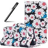 Schutzhülle Case für MicroLumia 550 Nokia N550,BtDuck Weiß Handyhülle PU Leder Briefcase Tier Blume Schmetterling Bunt Cover Tasche Etui Hülle Leder Silikon - Weiße Blume