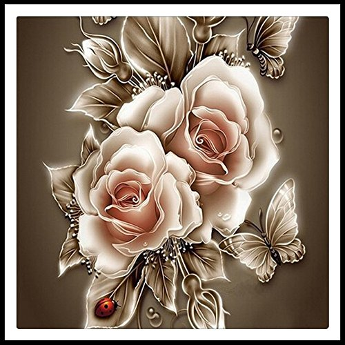 5D Strass Kristall Diamant Home Decor DIY Gemälde Rose & Schmetterling Kreuzstich Muster Diamant Stickerei 40x40CM -
