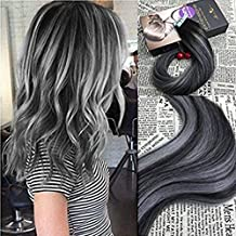 Moresoo Tape in Remy Extensiones Pelo Natural Ombre Negro Natural a Gris Plata 18Pulgadas 20Pcs/50G Seamless Brasileno Recto Hair Extension