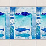 Fliesen Bordüre - Fish in the Blue 25cm x 20cm, Setgröße:10teilig