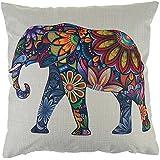 Fundas De Cojines Algodón De lino Decorativos Sofá Funda de Almohada Elefante Color (18*18 inch)