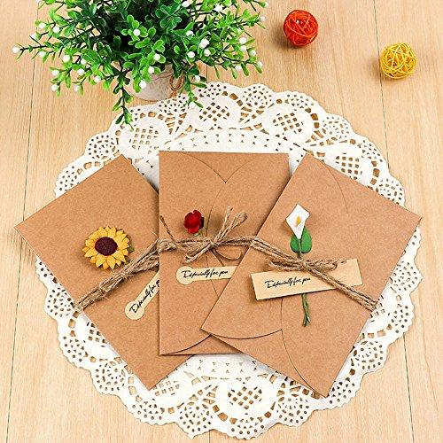 Jia HU 12Stück Vintage Papier kleine DIY Umschläge Geschenk Karte Post Karte 4x 3getrocknete Blumen Random Type (Kleine Karte ärmel)