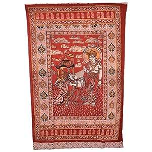 Ganesh Group Lord Krishna Kalamkari Door Curtain - Brown