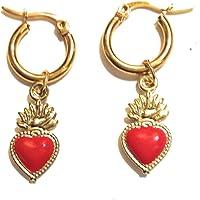 Orecchini cerchietto dorato con Charmes sacro cuore smaltato rosso
