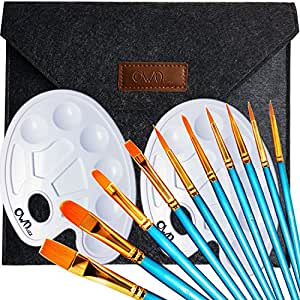 Ownuzz 10 Künstlerpinsel , 2 Mischpalette, 1 Eintritt Paket,Premium Nylon Pinsel für Aquarell, Acryl & Ölgemälde usw. Perfektes Pinsel Set für Anfänger, Kinder, Künstler und Gemälde Liebhaber