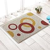 MKSFY Rutschfeste Absorbierende Bodenmatte Tür Matte Draht PVC Teppich Matte für Badezimmer Küche Studie Schlafzimmer Korridor Eingangstür Wohnzimmer Beige, 40 cm * 60 cm