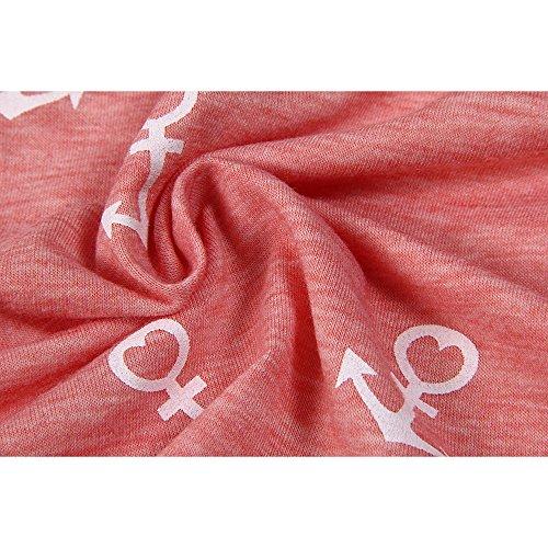 ELFIN Damen T-Shirt Top mit Anker Druck Rundhals Kurzarm Ladies Sommer Shirt Anker Sailing Tee Allover Print - Leicht und Luftig - Sehr Angenehm zu Tragen Rosa
