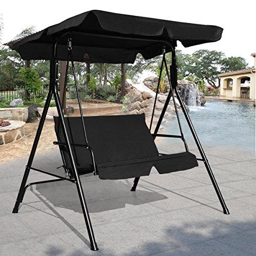 COSTWAY Hollywoodschaukel Gartenschaukel Schaukel Gartenliege Schaukelbank Gartenbank mit Sonnendach 2-Sitzer schwarz