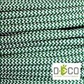Elektrische Kabel in farbigem Stoff beschichtet. Made in Italy! 5 Meter 2x0, 75 Farbe: Grund Weiß Grün