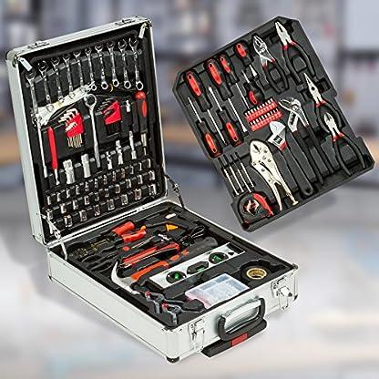 TecTake Maletín con herramientas 377pc piezas maleta trolley caja martillo alicates con 3 cajones