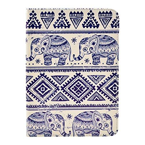 (Ancerson® PU Leder Tasche Tablet Schutzhülle für Apple iPad mini 1/iPad mini 2/iPad mini 3 Buch Stil Flip Case Ledertasche Standfunktion Schutz Hülle Etui Fall(Blau Elefant Tribal Totem))