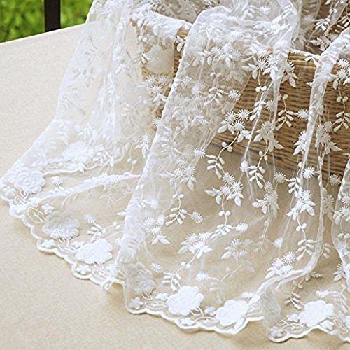 Tissu en maille dentelle brodé de fleurs, 130 cm, au mètre – Blanc