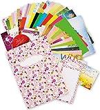 Buntes Motiv-Set (75-tlg.) - Kollektionsmappe mit 18 x 2 Briefpapier Motive DIN A4 210 x 297 mm, je 1 Umschlag, weitere 21 Teile, Briefpapiersammlung gemischt - Tolle Geschenkidee Kinder Frauen Mädchen