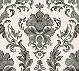 A.S. Création Papiertapete Concerto 2 Ökotapete Tapete klassisch barock 10,05 m x 0,53 m schwarz weiß Made in Germany 301901 30190-1