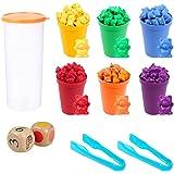 iufvbgxdh Jeu éducatif Montessori de 71 pièces avec oursons à compter et gobelets assortis avec dés et pinces Multicolore