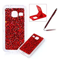 Rubber TPU Case For Samsung Galaxy J1 Mini,Herzzer Ultra Thin Slim Lightweight Color Changing Glittering Luxury Unique [Red Sequins] Bling Bling Shiny Sparkle Soft Silicone Gel Clear Bumper Frame Cover for Samsung Galaxy J1 Mini + 1 x Free Red Cellphone K
