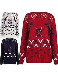 Oromiss UNISEX Ladies Mens Christmas Knitted Jumper Sparkling Reindeer Heart Xmas Jumpers