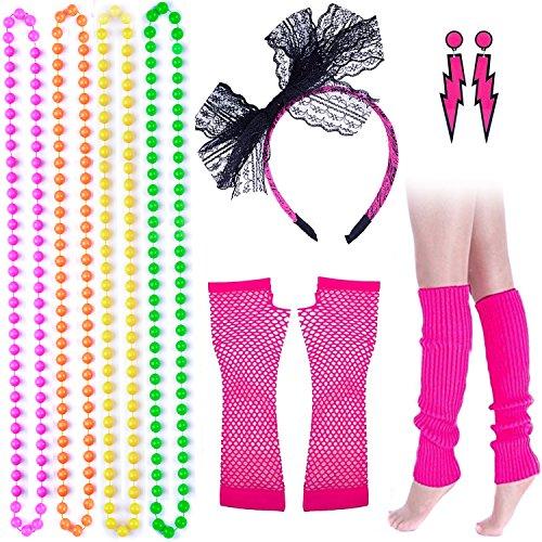 enhuton 11Colorful Neon Perlenketten Spitze Schleife Haarband Lightning -
