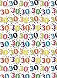 Besonderes Alter 30 Geschenkpapier 1 Blatt & passender Geschenkanhänger - 30. Geburtstag
