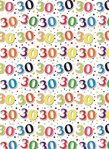 2 Sheets Special Age 30 Wrapping Paper & 1 Matching Gift Tag - 30th Birthday