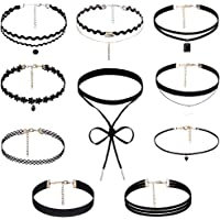 Rovtop 10 Pieces Choker Necklace for Women Girls, Black Classic Velvet Stretch Gothic Tattoo Lace
