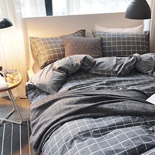 BEIZI einfache Gitter frühling bettwäsche Set Schlafzimmer Baumwolle bettbezüge 4 stücke 1 bettbezug, 1 bettwäsche, 2 Kissenbezüge, 160x210cm -