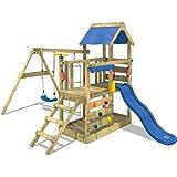 WICKEY Parco giochi in legno TurboFlyer Giochi da giardino con altalena e scivolo blu, Torre d'arrampicata da esterno con sab