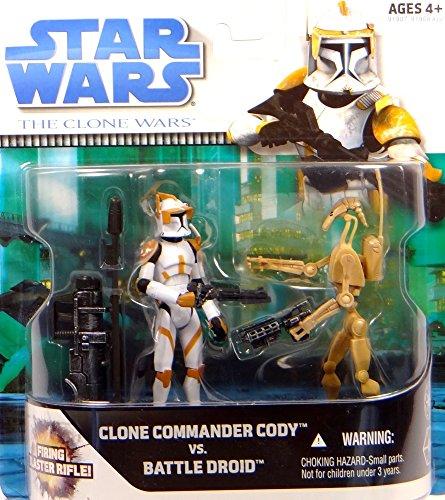 Hasbro Clone Commander Cody vs Star Wars The Clone Wars 2008 - Juego de coleccionista de Battle Droid